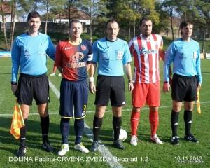 Rozhodcovia s kapitánmi: D. Milošević, P. Čížik, D. Santrač, N. Milijaš, G. Beljin (zľava)