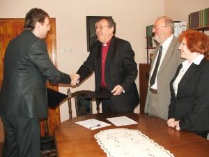 Po slávnostnom podpísaní memoranda o vzniku Ekumenickej duchovnej rady Svetového združenia Slovákov v zahraničí na biskupskom úrade v Novom Sade