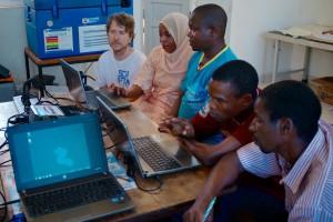 Záber z IT tréningu v nutričnom centre v Mkongani