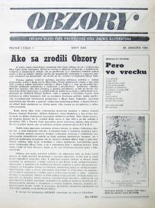 Prvá titulná strana rubriky Obzory z roku 1984