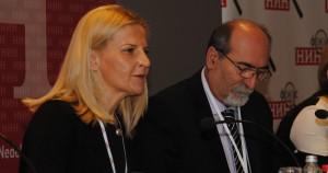 Z konferencie Agrárna politika Srbska: hlavná negociátorka Tanja Miščevićová a šéfredaktor týždenníka NIN Milan Ćulibrk