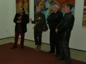 Vernisáž slovom sprevádzali: (zľava) Vladimír Valentík, Mária Gašková, Sava Stepanov a Pavel Čáni
