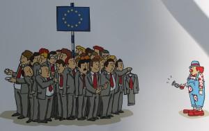 Z výstavy karikatúr Predsudky a mýty o EÚ: práca Pridruženie autora Vladu Trtića, ktorá získala 2. cenu