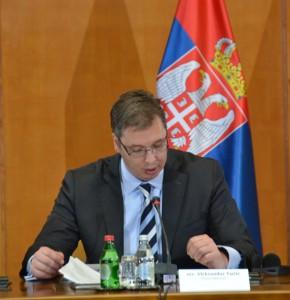 Premiér Aleksandar Vučić počas úvodného prejavu