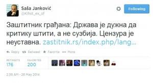 Saša Janković sa ozval aj na Twitteri.