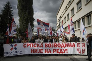 Protest pred budovou Zhromaždenia (foto: Tanjug)