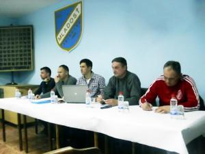 Časť vedenia FK Mladosť: Pavel Severíni, Jaroslav Chalupka, Ján Pavlis, Vladimír Sýkora, Ján Jakuš (zľava)
