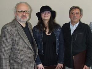 Laureáti cien Spolku spisovateľov Vojvodiny: Zoran Đerić, Marija Nenadić a Ioan Baba