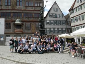 Pred radnicou univerzitného mesta Tübingenu