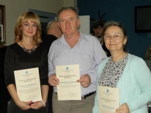 Laureáti Ceny Hlasu ľudu na rok 2015: Jasmina Pániková (zľava), Vladimír Hudec, Elena Šranková