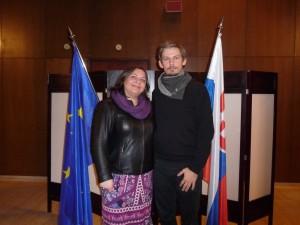 Helena Ľos Ivoríková a Michal Baláž na ambasáde v Belehrade