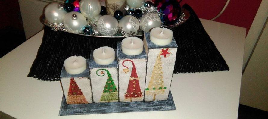 Vianočný svietnik vyrobený decoupage technikou