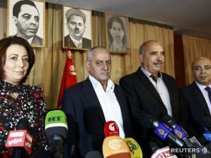 Na archívnej snímke lídri zoskupenia Tuniské kvarteto pre národný dialóg. (Foto: Reuters)
