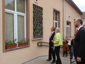 Pohľad na nevšednú kvetinovú mozaiku v školskom dvore