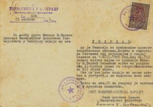 Doklad Belehradskej univerzity z roku 1945