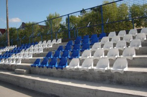 Upravené tribúny na štadióne FK Jednota v Starej Pazove