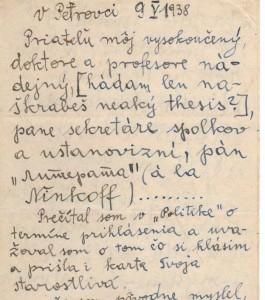 Z listu, ktorý písal B. Mokić